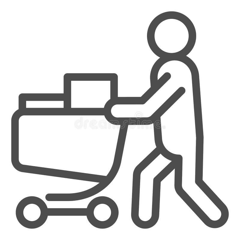 Compratore con la linea completa icona del carretto Persona con un'illustrazione completa di vettore del carretto della drogheria illustrazione vettoriale