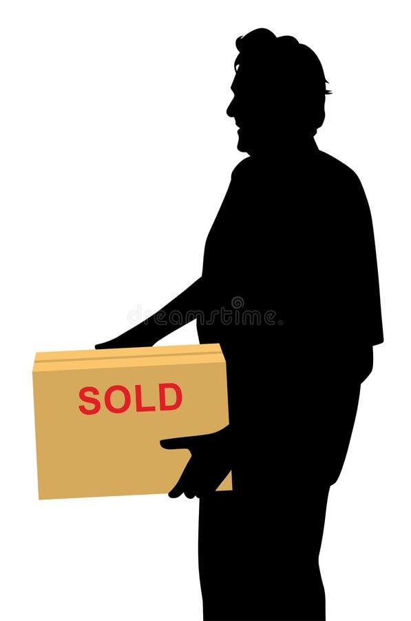 Compratore felice che porta qualcosa acquistato ed imballato in una scatola illustrazione vettoriale