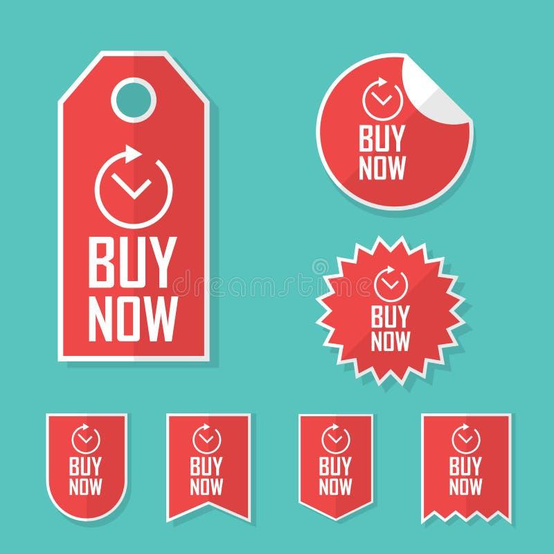 Compre agora etiquetas Etiquetas da oferta do tempo limitado para vendas Coleção relativa à promoção dos elementos da propaganda ilustração royalty free
