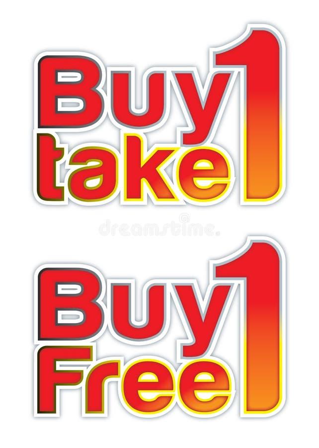 Compre 1 1 anuncio libre del cartel stock de ilustración
