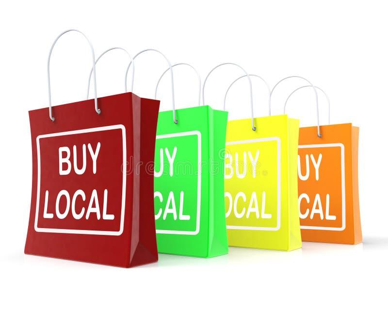 Compre as mostras locais dos sacos de compras que compram o comércio próximo ilustração stock