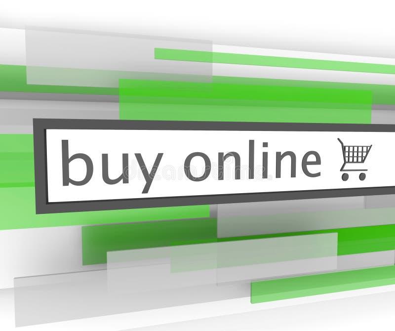 Compre a barra em linha - carro de compra do Web site ilustração do vetor