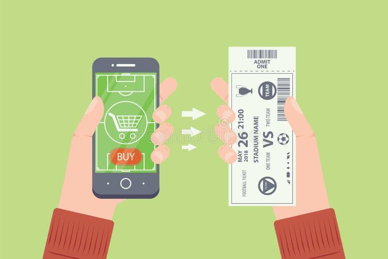 Compre bilhetes do futebol/futebol em linha Mãos com Smartphone e o bilhete de papel ilustração royalty free