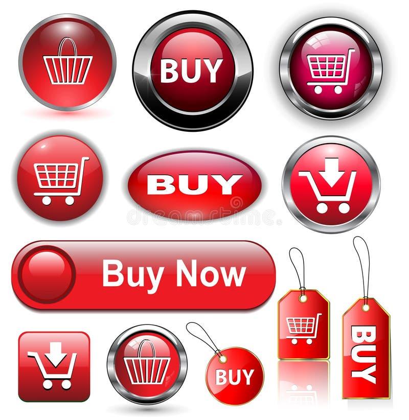 Compre botones, iconos fijados. stock de ilustración