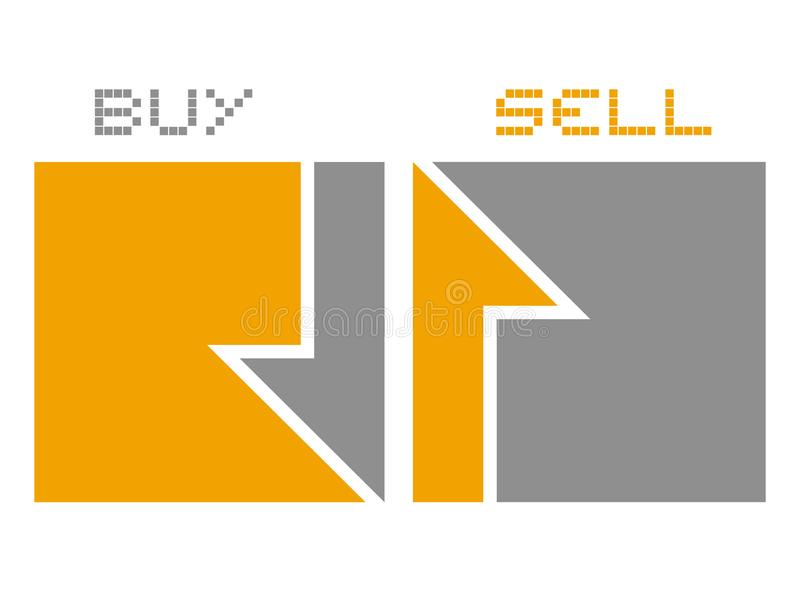 Compre e venda símbolos das setas ilustração royalty free