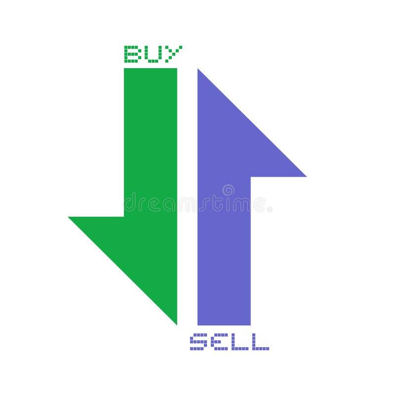 Compre e venda símbolos das setas ilustração stock
