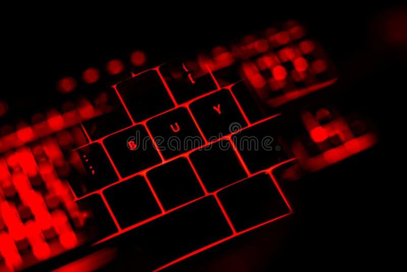Compre el texto en los botones iluminados del teclado ilustración del vector