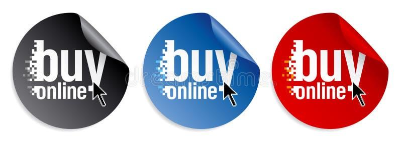 Compre etiquetas engomadas en línea ilustración del vector