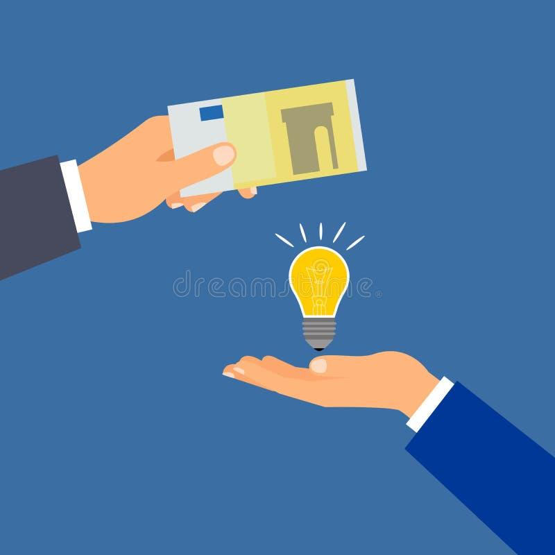 Compre la idea euro del dinero, concepto del negocio ilustración del vector