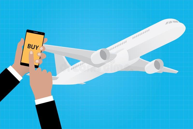 Compre linhas aéreas em linha da linha aérea do bilhete com apps do app do smartphone ilustração royalty free