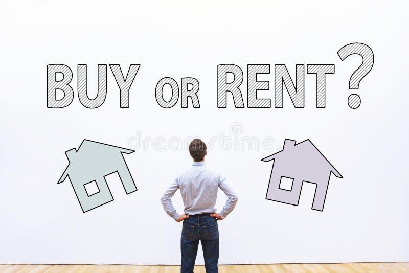 Compre o alquile el concepto, pregunta de las propiedades inmobiliarias imagen de archivo