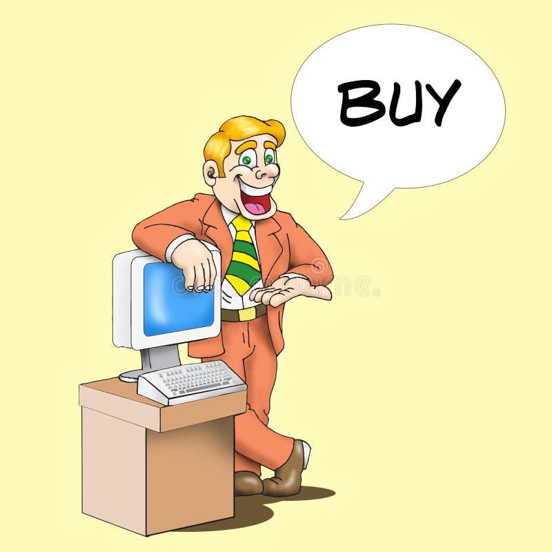 Compre o computador ilustração stock