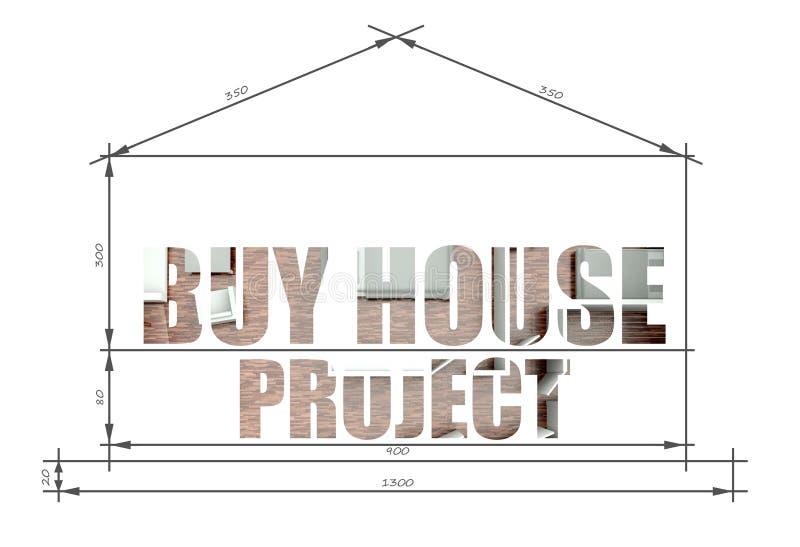 Compre o slogan do projeto da casa no modelo ilustração royalty free