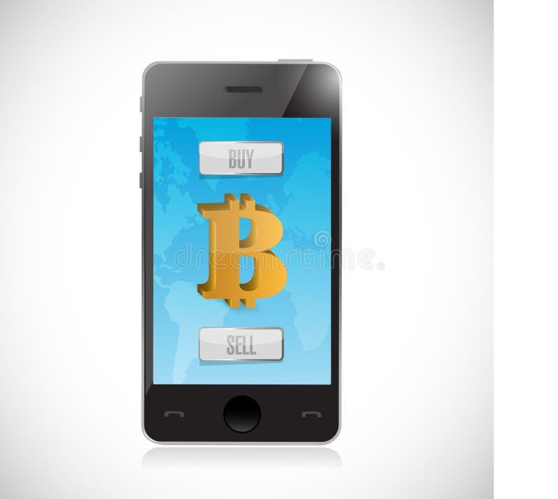 compre ou venda a moeda do bitcoin com smartphone Estrangeiros ilustração stock