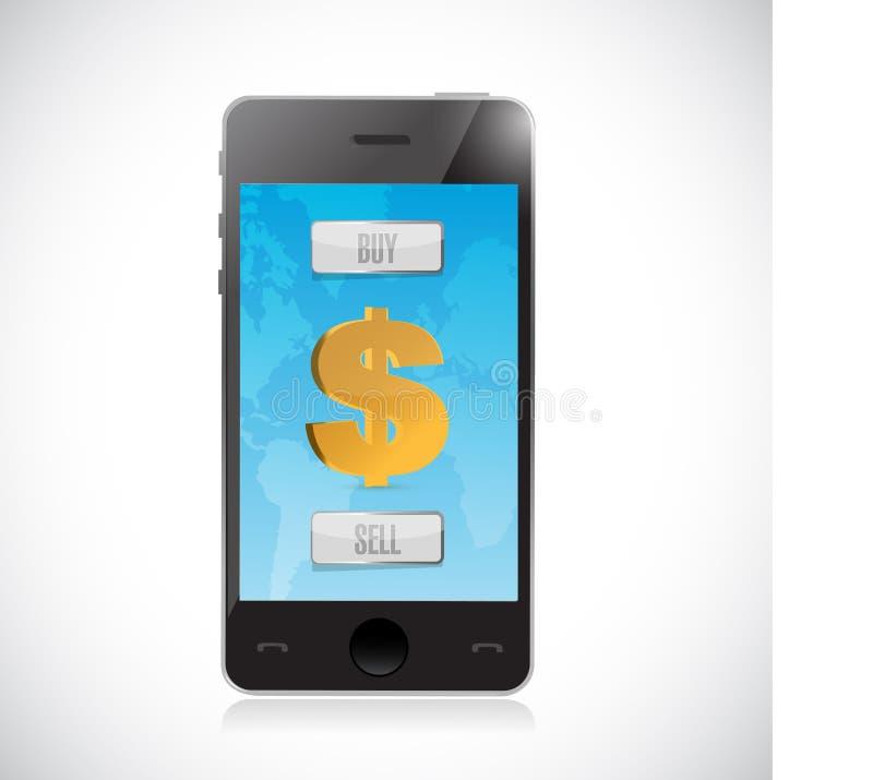 compre ou venda a moeda do dólar com smartphone Estrangeiros ilustração stock