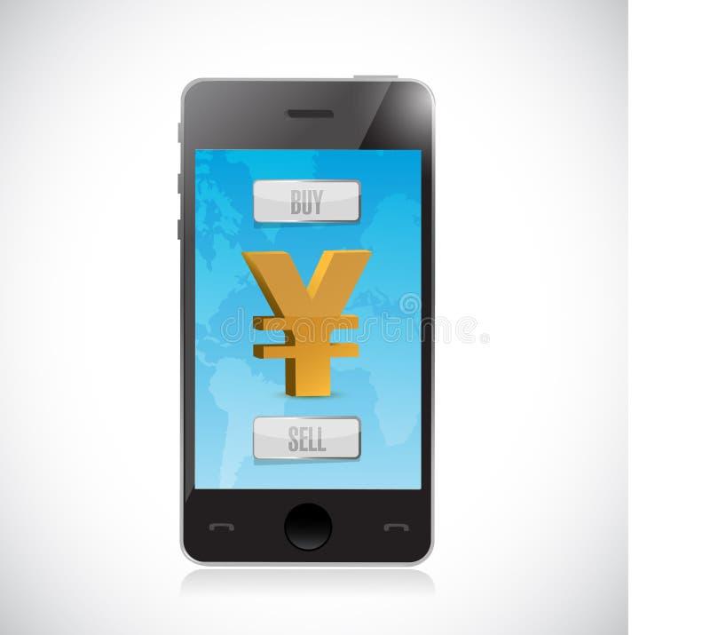 compre ou venda a moeda dos ienes com smartphone Estrangeiros ilustração royalty free