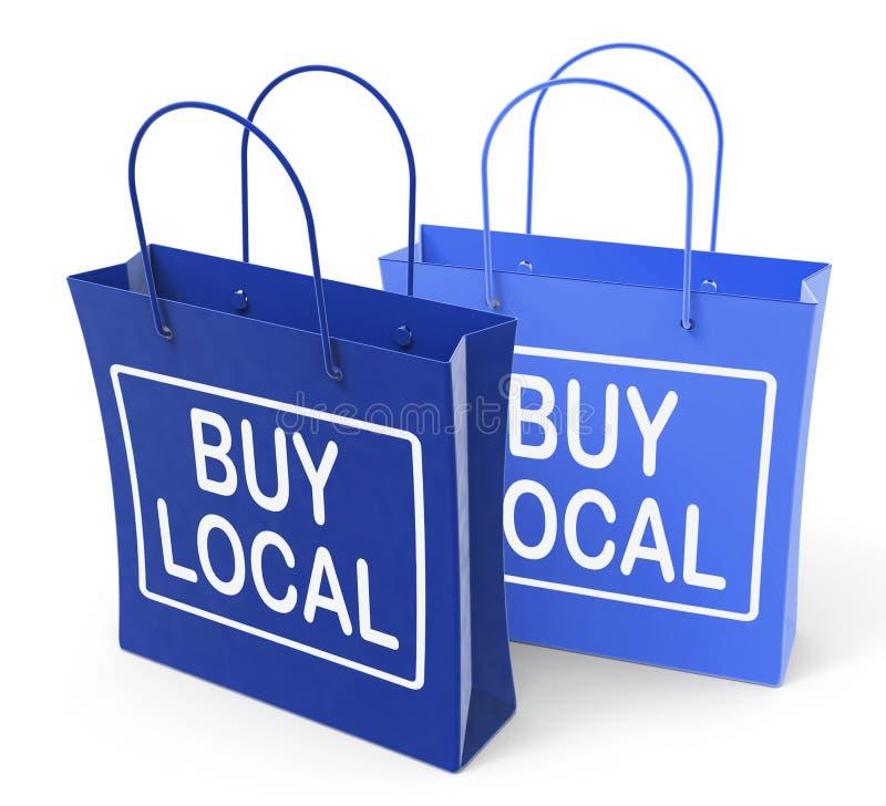 Compre sacos locais promovem comprar produtos localmente ilustração royalty free