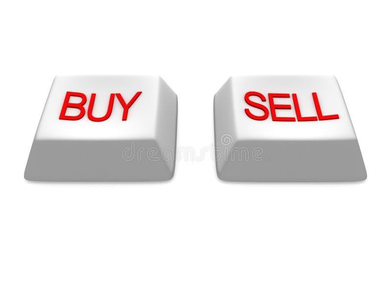 Compre y venda claves blancos de los botones ilustración del vector