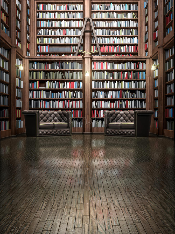 Comprehensive library. (or book shop) with volumes laid out on shelves in an antique atmosphere with quilted seats (sofas) for readers and a step ladder hanging royalty free stock photography