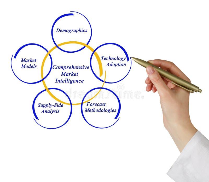 Comprehensive Market Intelligence. Diagram of Comprehensive Market Intelligence stock image