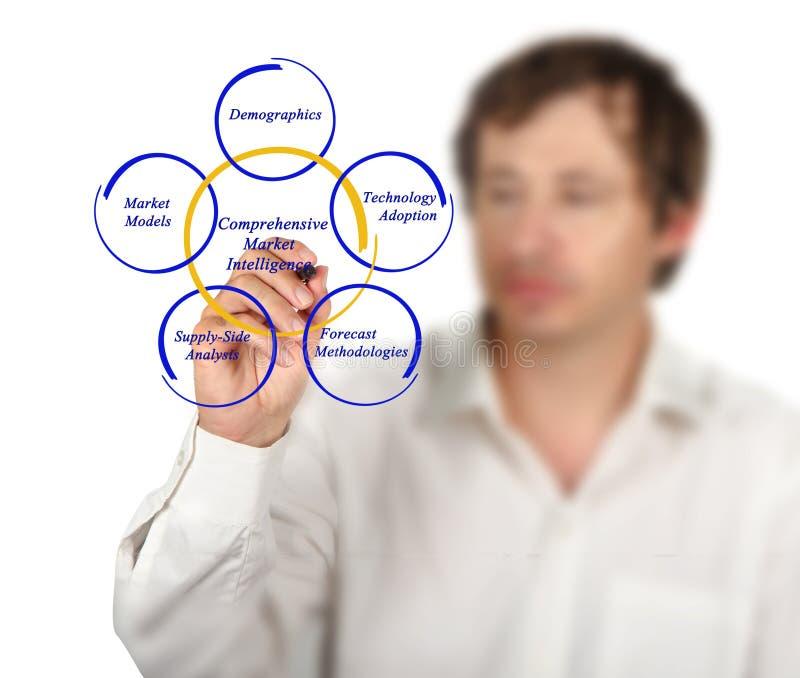 Comprehensive Market Intelligence. Diagram of Comprehensive Market Intelligence royalty free stock photo