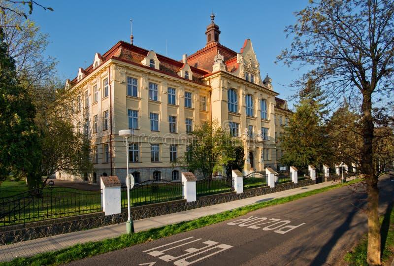 Comprehensive school in Zatec town. Czech Republic royalty free stock photo