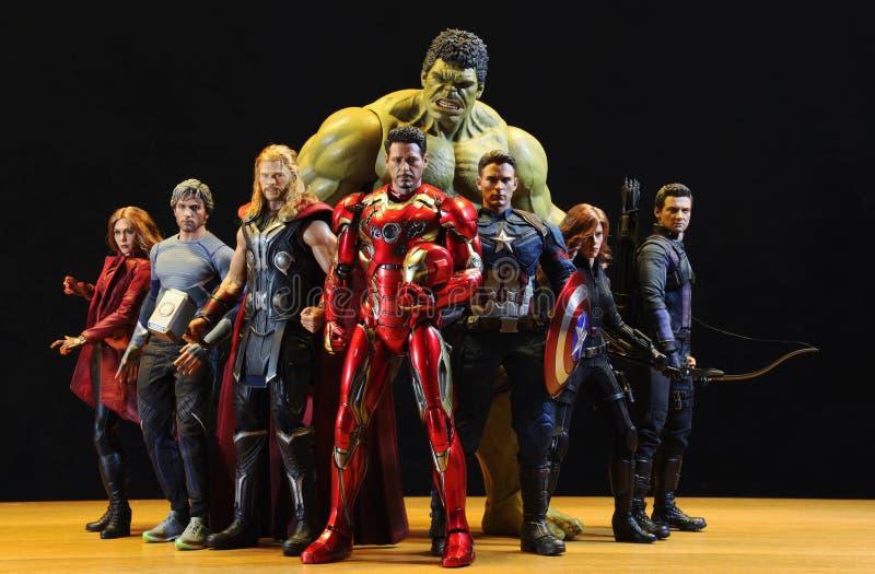 Compreso i modelli del Super Heroes di MERAVIGLIA fotografia stock
