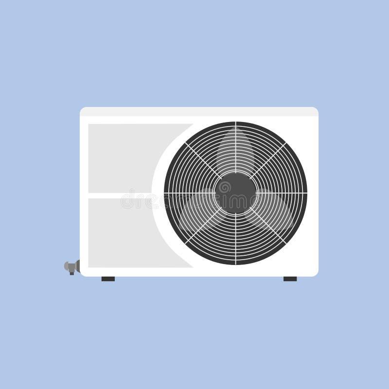 Compresor de la salida de aire de la tecnología de la unidad de la condición aislado en el icono plano blanco fotos de archivo
