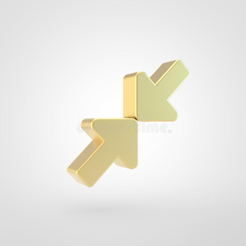 Golden compress icon isolated on white background. Compress icon. 3d render of golden compress symbol isolated on white background vector illustration