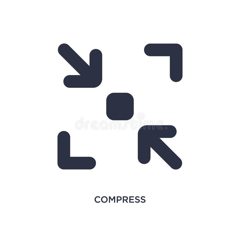 Compress icon on white background. Simple element illustration from user interface concept. Compress icon. Simple element illustration from user interface royalty free illustration