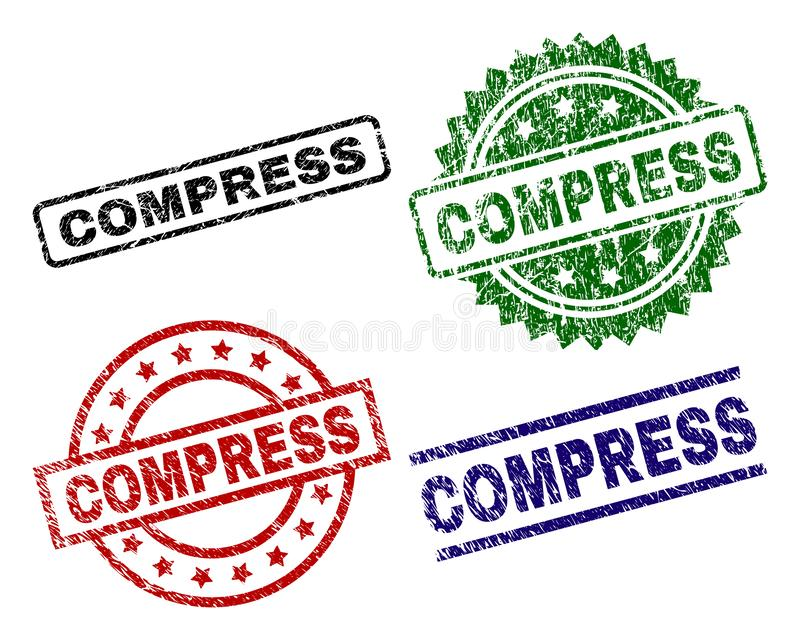 Scratched Textured COMPRESS Seal Stamps. COMPRESS seal prints with damaged surface. Black, green,red,blue vector rubber prints of COMPRESS label with unclean stock illustration