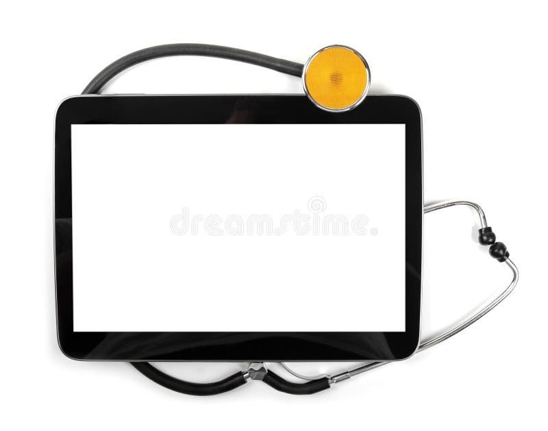 Compressa in bianco e stetoscopio digitali isolati su bianco fotografie stock