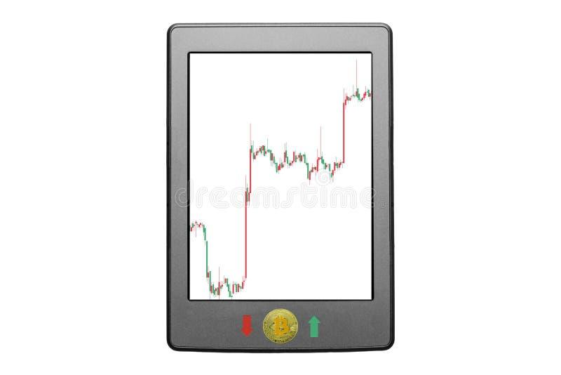 Compressa con il pannello di controllo di crescita del prezzo del bitcoin cripto di valuta Grafico della borsa valori sullo scher fotografie stock libere da diritti