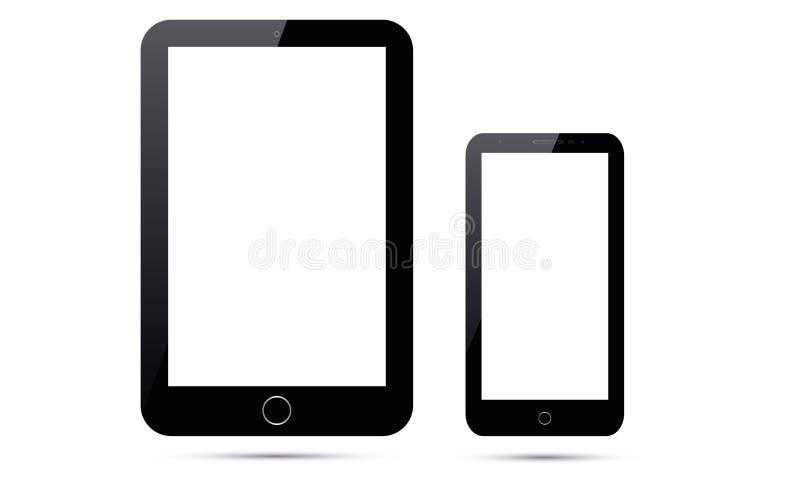 Compressa di Android Ipad di vettore e telefono cellulare di Android Smart di vettore illustrazione di stock