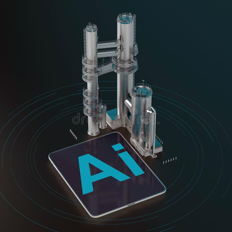 Compressa di Digital con fabbricato industriale illustrazione di stock
