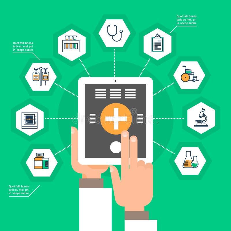Compressa di Digital della tenuta della mano con il concetto online di trattamento di applicazione della medicina della rete soci illustrazione vettoriale