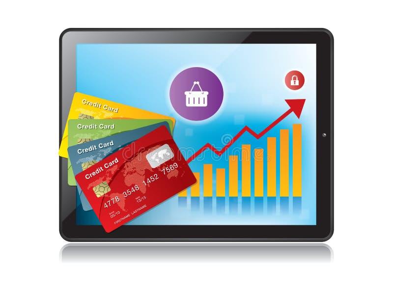 Compressa di Digital e grafico di crescita con una carta di credito royalty illustrazione gratis