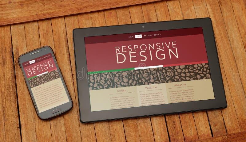 Compressa e telefono cellulare sopra una tavola rustica Pagina Web rispondente di progettazione fotografia stock