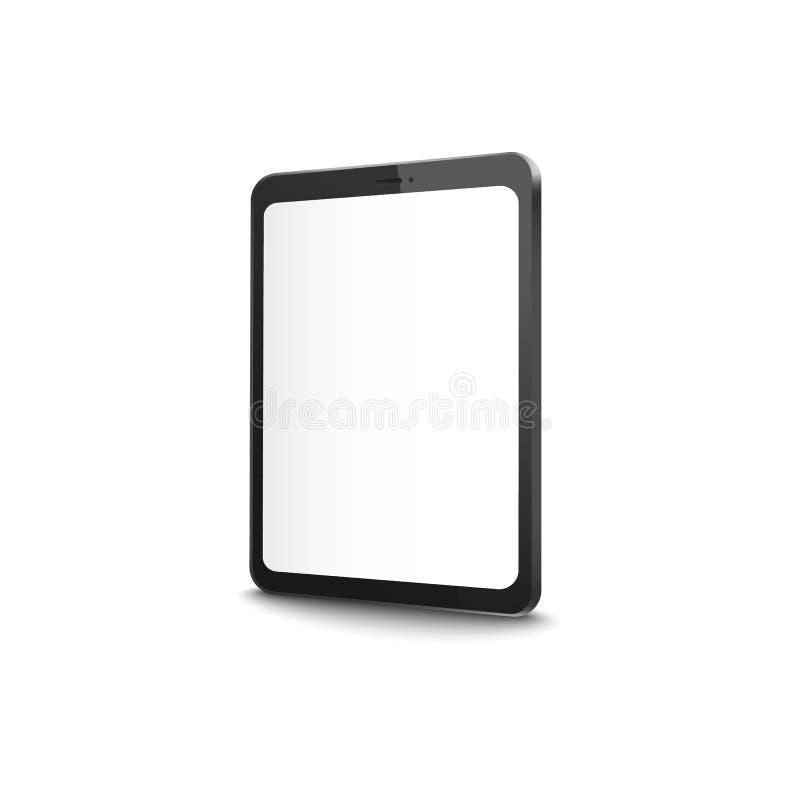 Compressa moderna con lo schermo in bianco - modello realistico di esposizione vuota sul dispositivo digitale nero dalla vista la illustrazione di stock