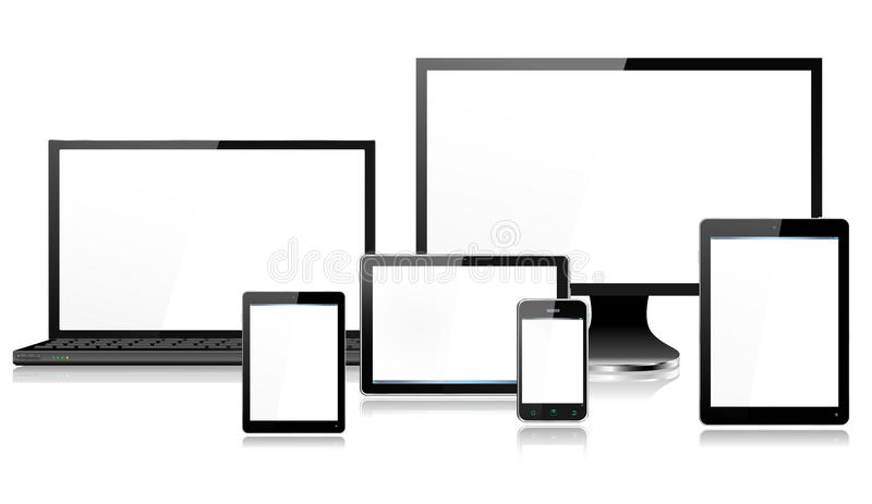 Compressa realistica di Smartphone dello schermo di monitor del computer portatile dei dispositivi del computer mobile mini royalty illustrazione gratis