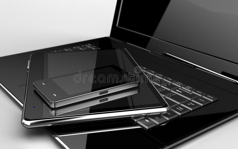 Compressa & telefono del computer portatile fotografia stock