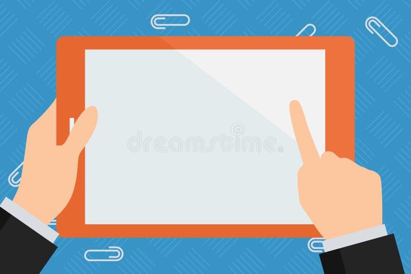 Compressa variopinta di Hand Holding Rectangular dell'uomo d'affari Smartphone tenuto in mano con lo schermo bianco in bianco Dit illustrazione vettoriale