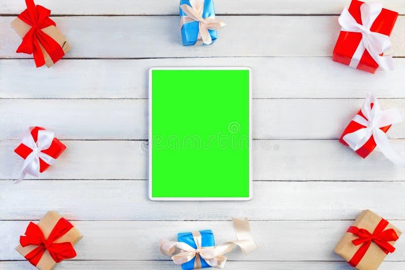 Compressa verticale con la vista superiore dello schermo verde fotografia stock libera da diritti