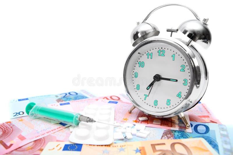 Compresse, una siringa e una sveglia su soldi. fotografia stock libera da diritti