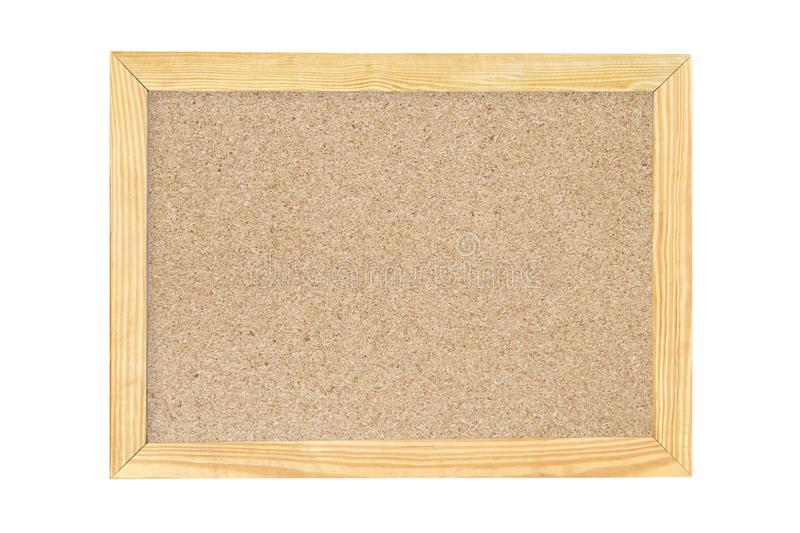 Compressed Cork Wood Board with Wooden Frame Isolated on White Background royalty free stock photo