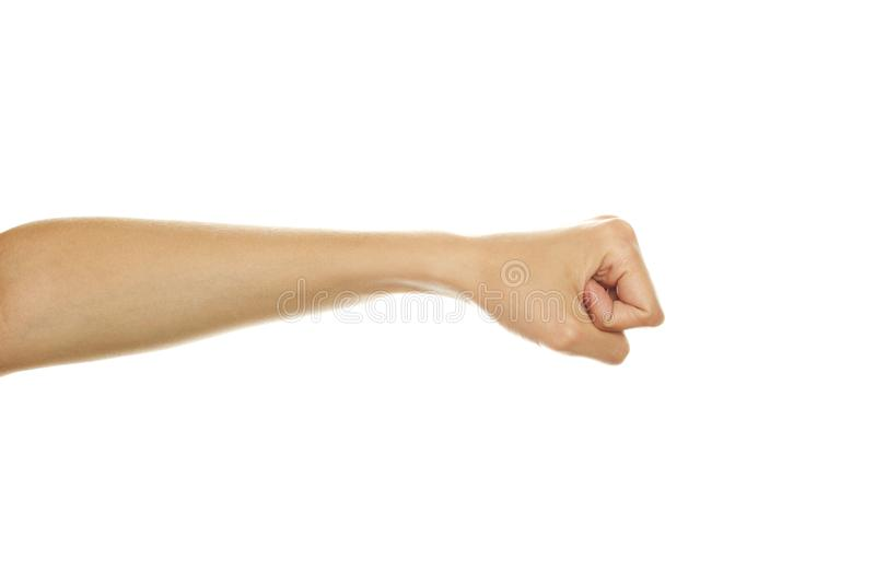 Compressed fist of the hand royalty free stock photography