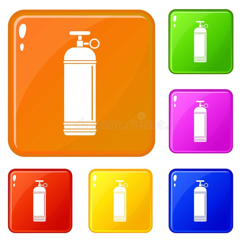 Compressed gas container icons set vector color. Compressed gas container icons set collection vector 6 color isolated on white background stock illustration