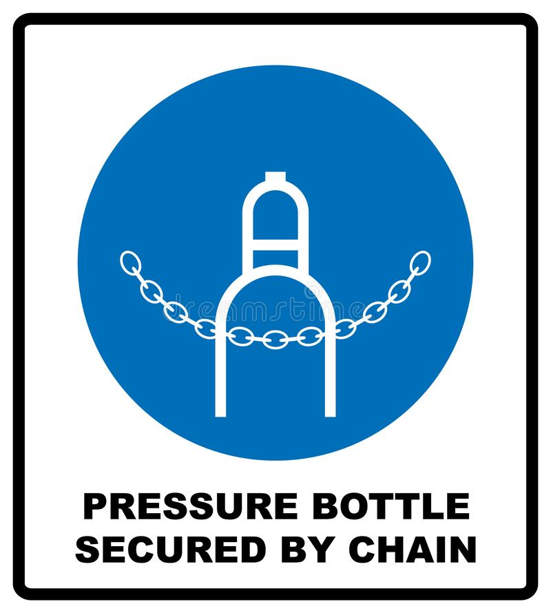 Compressed gas sign  design isolated on white background. Pressure bottle secured by chain icon. Compressed bottle sign.  design isolated on white background vector illustration