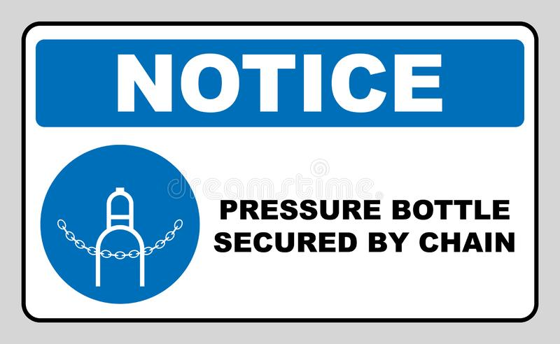 Compressed gas sign  design isolated on white background. Pressure bottle secured by chain icon. Compressed bottle sign.  design isolated on white background stock illustration
