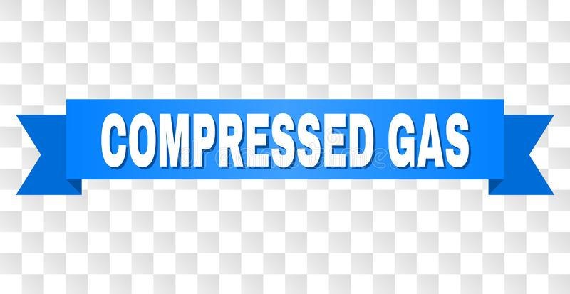 Blue Tape with COMPRESSED GAS Title. COMPRESSED GAS text on a ribbon. Designed with white caption and blue tape. Vector banner with COMPRESSED GAS tag on a vector illustration